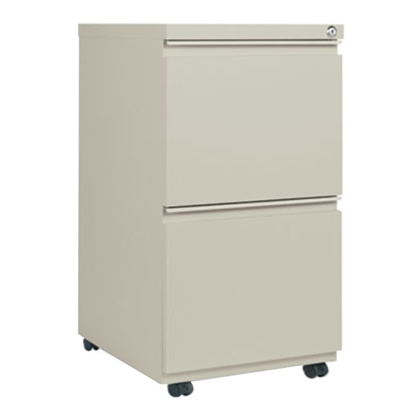 """Alera ALEPBFFPY Putty Two 12"""" Drawer Metal Pedestal File with Full-Length Pulls - 14 7/8"""" x 19 1/8"""" x 27 3/4"""""""