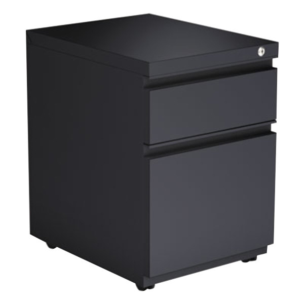 "Alera ALEPBBFCH Charcoal Two-Drawer Metal Pedestal Box File with Full-Length Pulls - 14 7/8"" x 19 1/8"" x 21 5/8"""