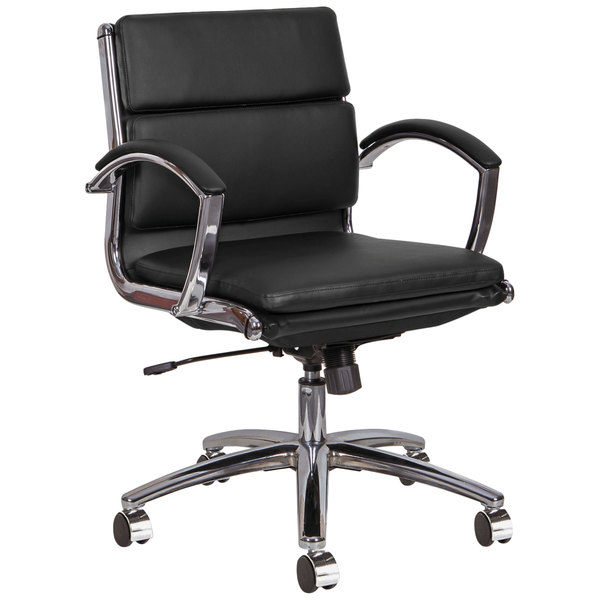 Alera ALENR4719 Neratoli Low-Back Black Leather Office Chair with Fixed Arms and Chrome Swivel Base