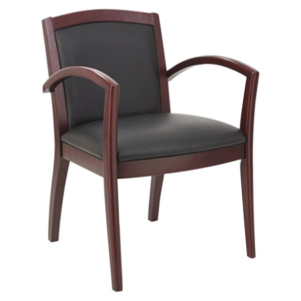Nice Alera ALERL5219M Reception 500 Series Black Leather Arm Chair With Mahogany  Solid Wood Frame