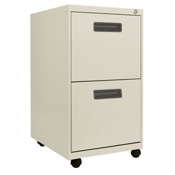 "Alera ALEPAFFPY Putty Two 12"" Drawer Metal Pedestal File with Recessed Drawer Pulls - 14 7/8"" x 19 1/8"" x 27 3/4"" Main Image 1"