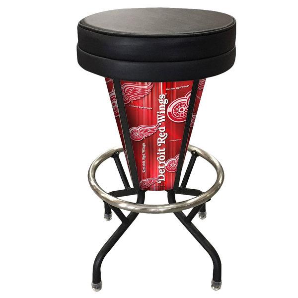Holland Bar Stool L500030DetRedBlkVinyl Detroit Red Wings Indoor / Outdoor LED Bar Stool Main Image 1