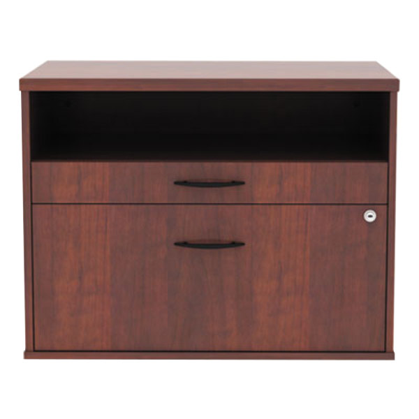 Alera Alels583020mc Open Office Medium Cherry Low File Cabinet Credenza 29 1 2 X 19