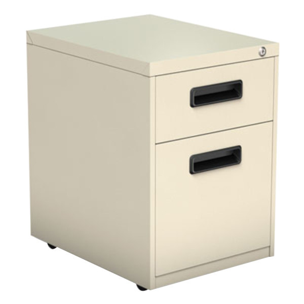 "Alera ALEPABFPY Putty Two-Drawer Metal Pedestal File with Recessed Drawer Pulls - 14 7/8"" x 19 1/8"" x 21 3/4"" Main Image 1"