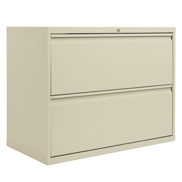"Alera ALELF3629PY Putty Two-Drawer Metal Lateral File Cabinet - 36"" x 19 1/4"" x 28 3/4"""