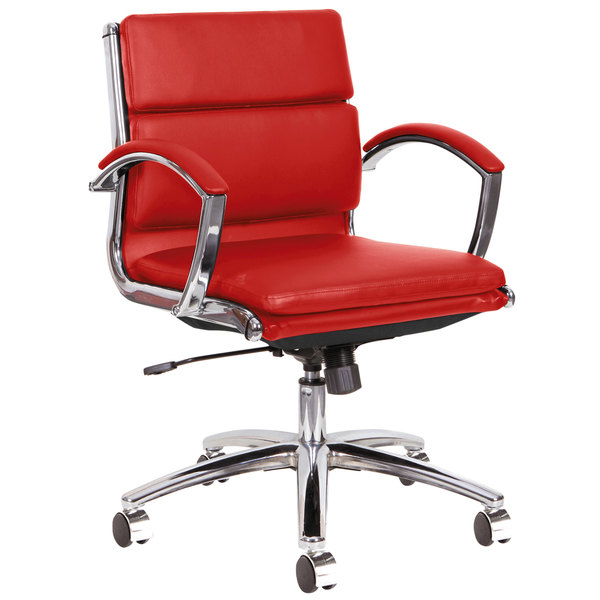 Alera ALENR4739 Neratoli Low-Back Red Leather Office Chair with Fixed Arms and Chrome Swivel Base