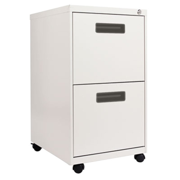 "Alera ALEPAFFLG Light Gray Two 12"" Drawer Metal Pedestal File with Recessed Drawer Pulls - 14 7/8"" x 19 1/8"" x 27 3/4"""