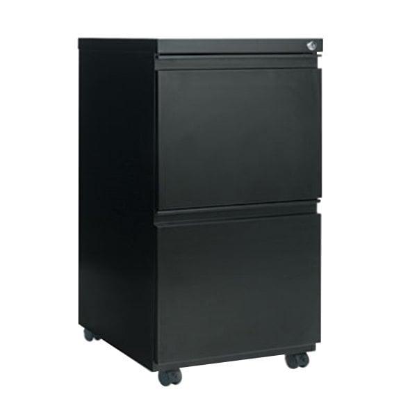 "Alera ALEPBFFBL Black Two 12"" Drawer Metal Pedestal File with Full-Length Pulls - 14 7/8"" x 19 1/8"" x 27 3/4"""