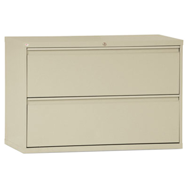 """Alera ALELF4229PY Putty Two-Drawer Metal Lateral File Cabinet - 42"""" x 19 1/4"""" x 28 3/8"""""""