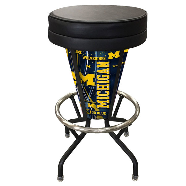 Holland Bar Stool L500030MichUnBlkVinyl University of Michigan Indoor / Outdoor LED Bar Stool Main Image 1
