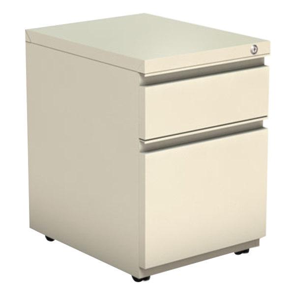 "Alera ALEPBBFPY Putty Two-Drawer Metal Pedestal Box File with Full-Length Pulls - 14 7/8"" x 19 1/8"" x 21 5/8"""