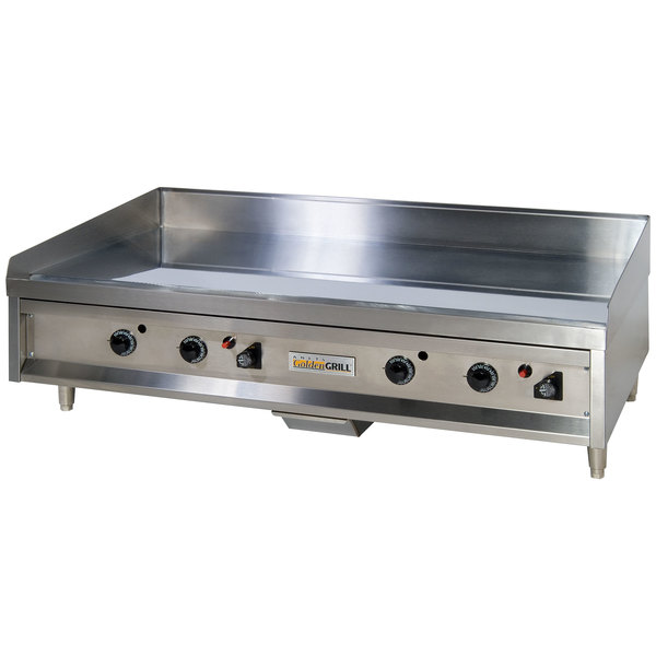 "Anets A24X48AGC 48"" Liquid Propane Chrome Countertop Griddle with Thermostatic Controls - 107,000 BTU Main Image 1"