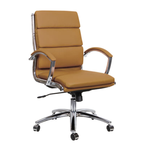 Alera Alenr4259 Neratoli Mid Back Camel Leather Office Chair With Fixed Arms And Chrome Swivel Base