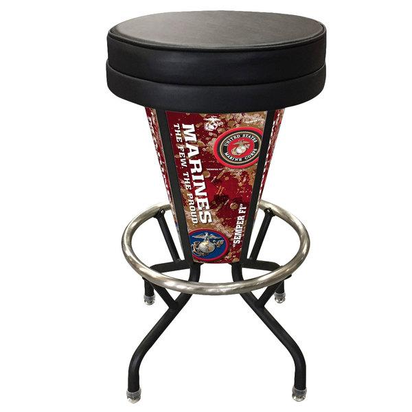 Holland Bar Stool L500030MarineBlkVinyl United States Marine Corps Indoor / Outdoor LED Bar Stool