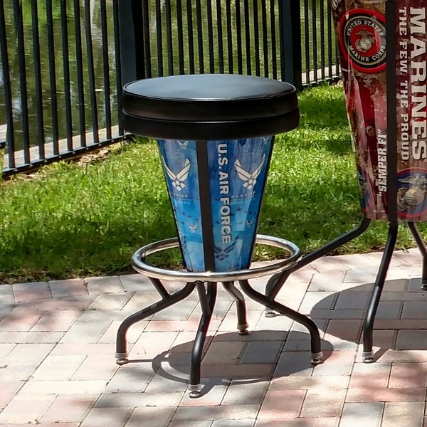 Holland Bar Stool L500030AirForBlkVinyl United States Air Force Indoor / Outdoor LED Bar Stool Main Image 7