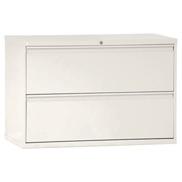 """Alera ALELF4229LG Light Gray Two-Drawer Metal Lateral File Cabinet - 42"""" x 19 1/4"""" x 28 3/8"""""""