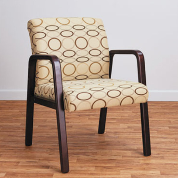 Alera ALERL4351M Reception Tan Patterned Fabric Arm Chair with Mahogany Wood Frame Main Image 5