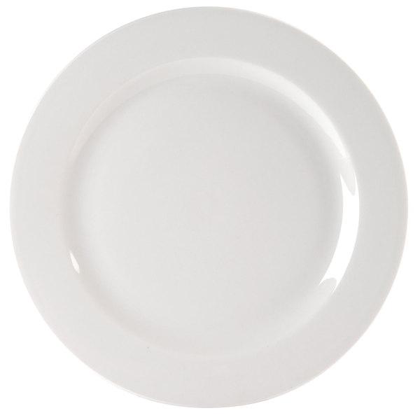 "Homer Laughlin 6396000 Pristine Ameriwhite 10 5/8"" Bright White China Plate - 12/Case"