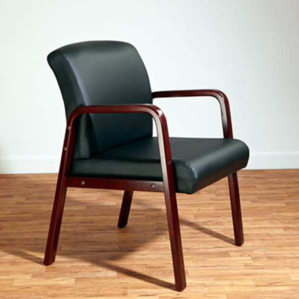 Alera ALERL4319M Reception Black Leather Arm Chair with Mahogany Wood Frame Main Image 7
