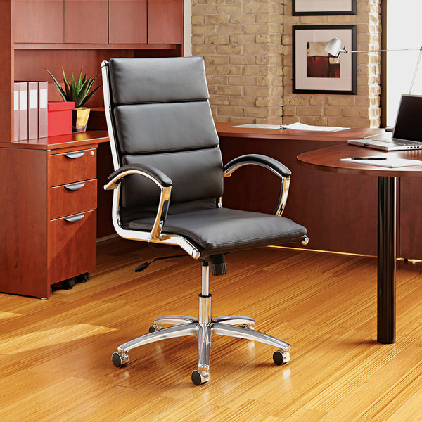 Alera ALENR4219 Neratoli Mid-Back Black Leather Office Chair with Fixed Arms and Chrome Swivel Base Main Image 5