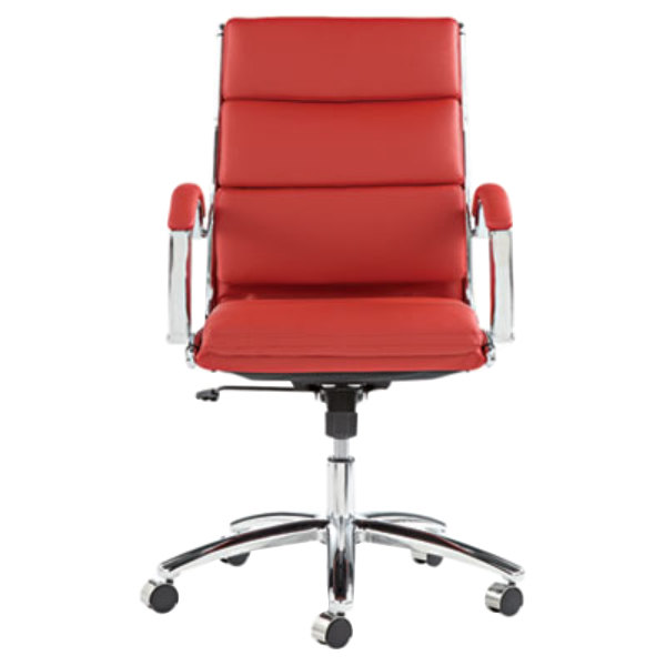 back red leather office chair with fixed arms and chrome swivel base