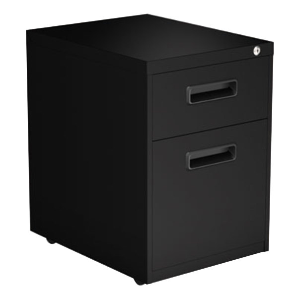 Alera ALEPABFBL Black Two-Drawer Metal Pedestal File with Recessed Drawer Pulls - 14 7/8 inch x 19 1/8 inch x 21 3/4 inch