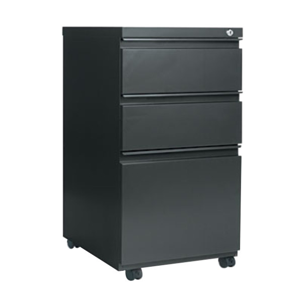 """Alera ALEPBBBFCH Charcoal Three-Drawer Metal Mobile Pedestal File with Full-Length Pulls - 14 7/8"""" x 19 1/8"""" x 27 3/4"""" Main Image 1"""