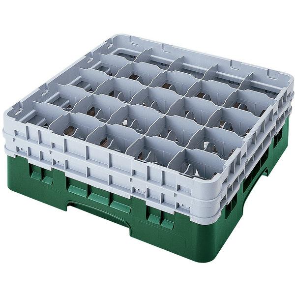 "Cambro 25S318119 Camrack 3 5/8"" High Customizable Sherwood Green 25 Compartment Glass Rack"