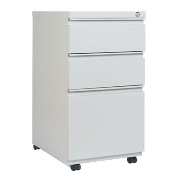 Alera ALEPBBBFLG Light Gray Three Drawer Metal Mobile Pedestal File With  Full Length Pulls   14 ...