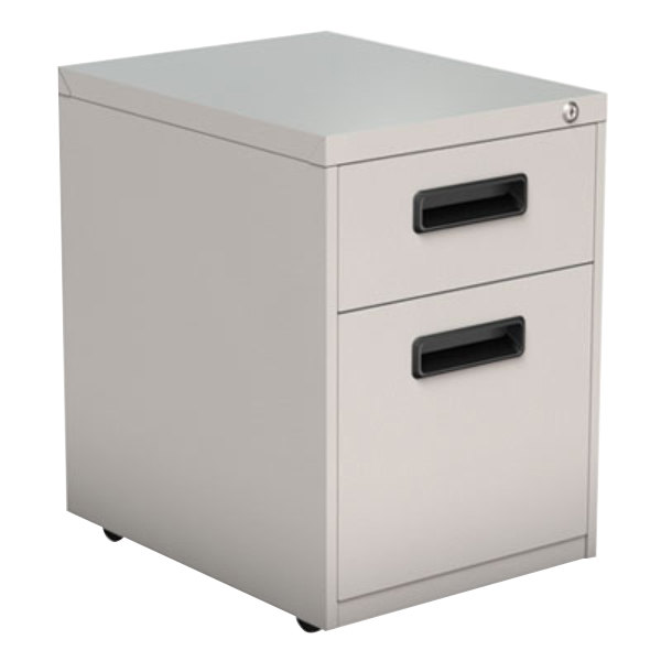 Alera ALEPABFLG Light Gray Two-Drawer Metal Pedestal File with Recessed Drawer Pulls - 14 7/8 inch x 19 1/8 inch x 21 3/4 inch