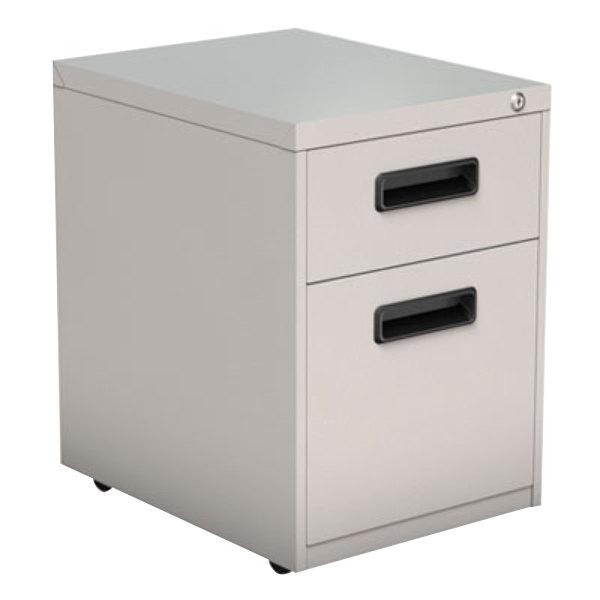 "Alera ALEPABFLG Light Gray Two-Drawer Metal Pedestal File with Recessed Drawer Pulls - 14 7/8"" x 19 1/8"" x 21 3/4"" Main Image 1"