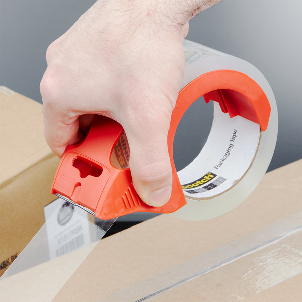 """3M 38502RD Scotch® 1 7/8"""" x 54.6 Yards Clear Heavy-Duty Shipping and Packaging Tape with Dispenser - 2/Pack"""