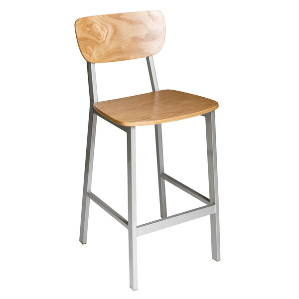 BFM JS10BNTV-NTPL Hamilton Gray Steel Bar Height Chair with Natural Ash Wooden Back and Seat - Platinum Finish