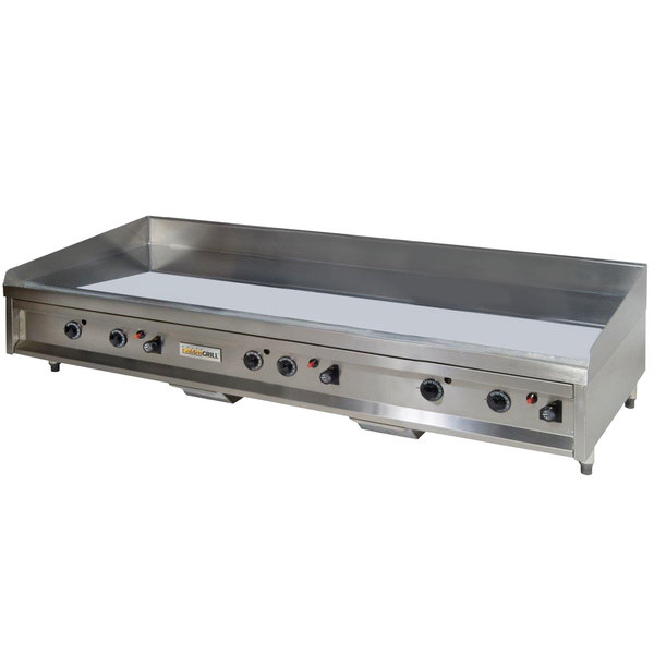 """Anets A24X60AGC 60"""" Natural Gas Chrome Countertop Griddle with Thermostatic Controls - 150,000 BTU"""