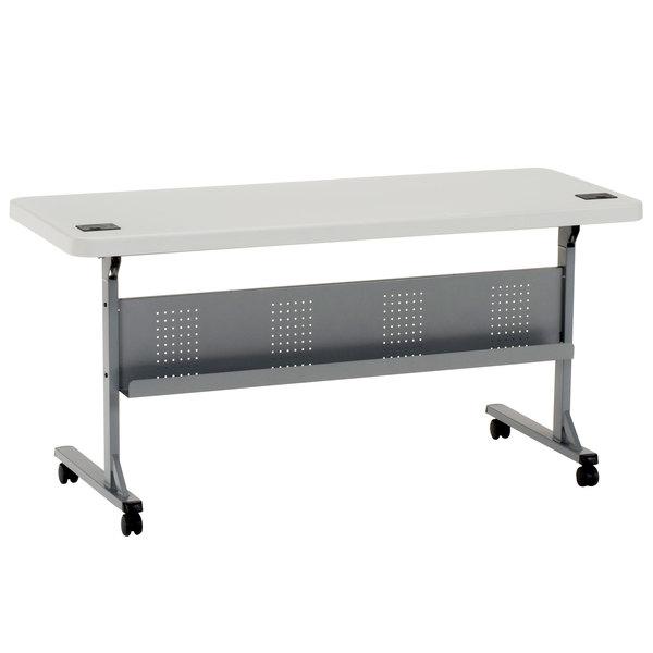 "NPS Mobile Flip Top Table, 24"" x 60"" Plastic, Speckled Gray - BPFT-2460"