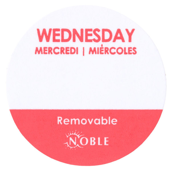 Noble Products Wednesday Removable Day of the Week Dot Label 1 inch - 1000 / Roll