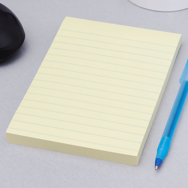 "3M 660-5SSCY Post-It® 4"" x 6"" Canary Yellow Lined 90 Sheet Super Sticky Note Pad - 5/Pack"