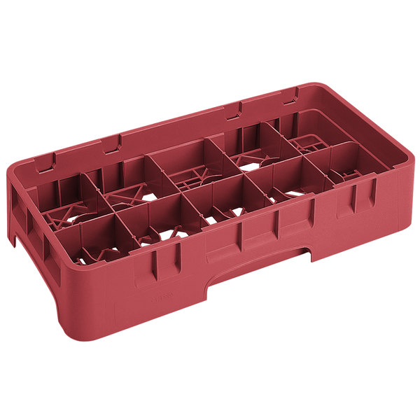 "Cambro 10HS434416 Cranberry Camrack 10 Compartment 5 1/4"" Half Size Glass Rack"