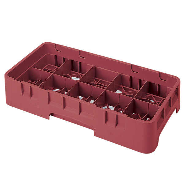 "Cambro 10HS434416 Cranberry Camrack Customizable 10 Compartment 5 1/4"" Half Size Glass Rack"