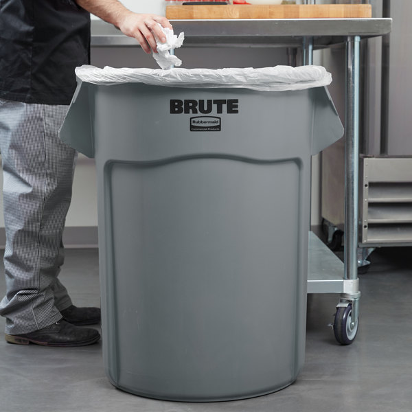 Rubbermaid FG265500GRAY BRUTE Gray 55 Gallon Round Trash Can Main Image 2