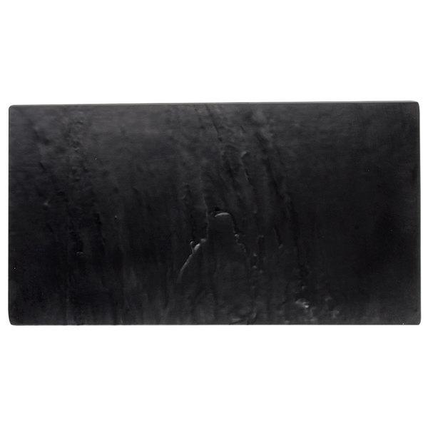 "Tablecraft MG3 Frostone 12 3/4"" x 6 3/4"" Black Melamine Display Tray"