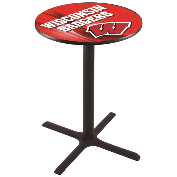 "Holland Bar Stool L211B3628WISC-W-D2 28"" Round University of Wisconsin Pub Table"