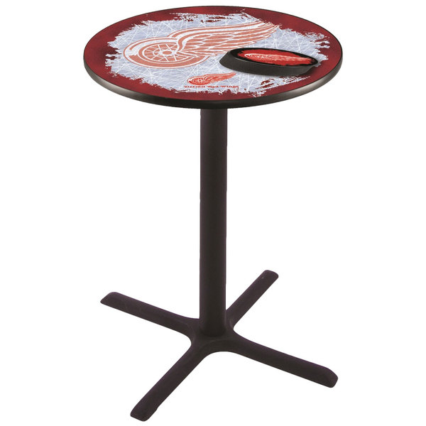 "Holland Bar Stool L211B4228DETRED-D2 28"" Round Detroit Red Wings Bar Height Pub Table Main Image 1"