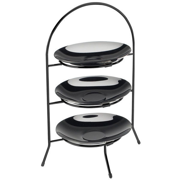 "Cal-Mil 977-10-13 Iron Three Tier Black Wire Bowl and Plate Display - 11 3/4"" x 11 3/4"" x 20"" Main Image 1"