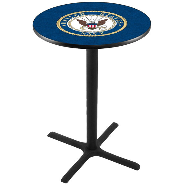 "Holland Bar Stool L211B3628NAVY 28"" Round United States Navy Pub Table"