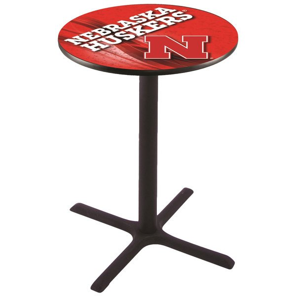 "Holland Bar Stool L211B4228NEBRUN-D2 28"" Round University of Nebraska Bar Height Pub Table Main Image 1"