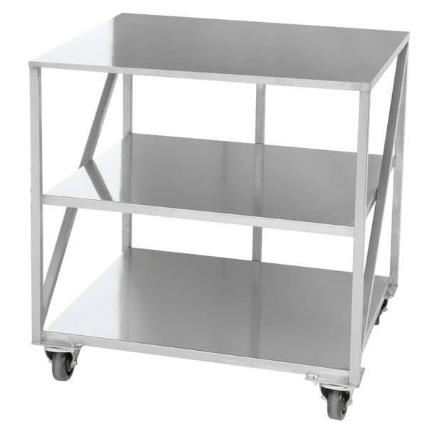 """Doyon PIZ3B 35"""" x 30 3/4"""" Mobile Stainless Steel Equipment Stand with 2 Undershelves Main Image 1"""