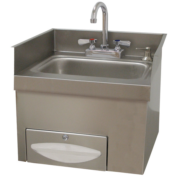 """Advance Tabco 7-PS-42A Countertop 16 5/8"""" x 12 3/4"""" x 16"""" Hand Sink with Deck Mounted Faucet, Paper Towel Dispenser, and Soap Dispenser"""