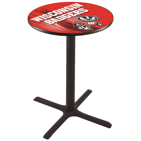 "Holland Bar Stool L211B3628WI-BDG-D2 28"" Round University of Wisconsin Pub Table Main Image 1"