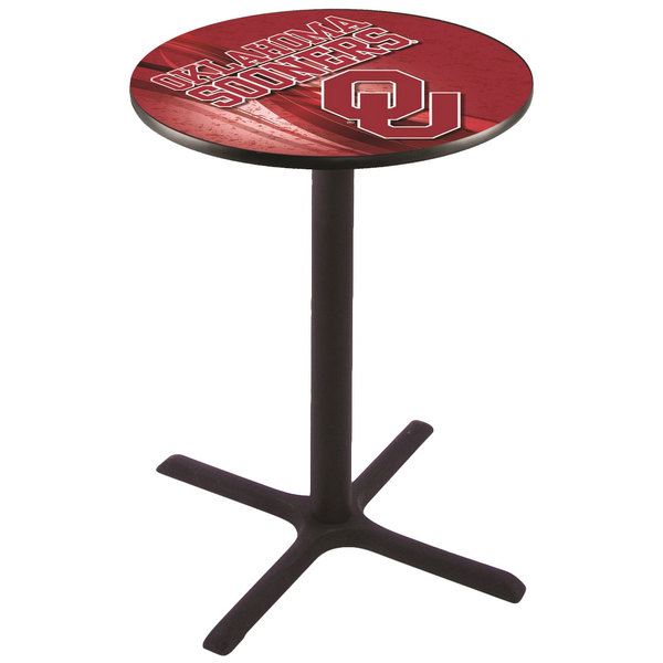 "Holland Bar Stool L211B3628OKLHMA-D2 28"" Round University of Oklahoma Pub Table"